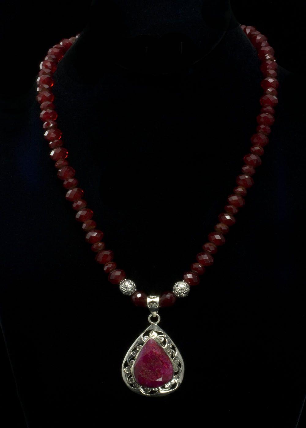 full set teardrop pendant. Ruby Teardrop Pendant Necklace Natural Set In Sterling Silver, 2\ Full C