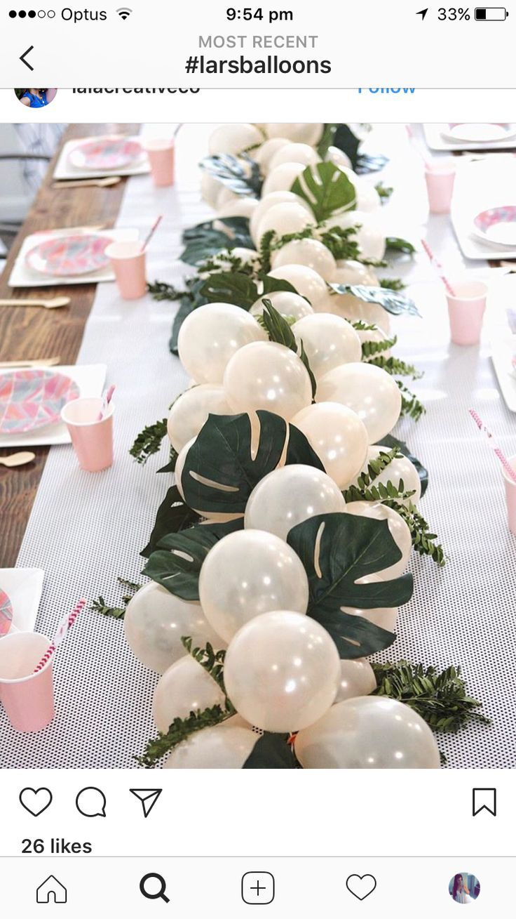 Greenery baby shower balloon and leaf garland table runner #bridalshowerdecorations
