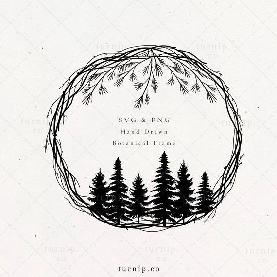 Christmas Wreath Svg Png Clipart Files Pine Tree Winter Etsy Monogram Border Winter Monogram Clip Art