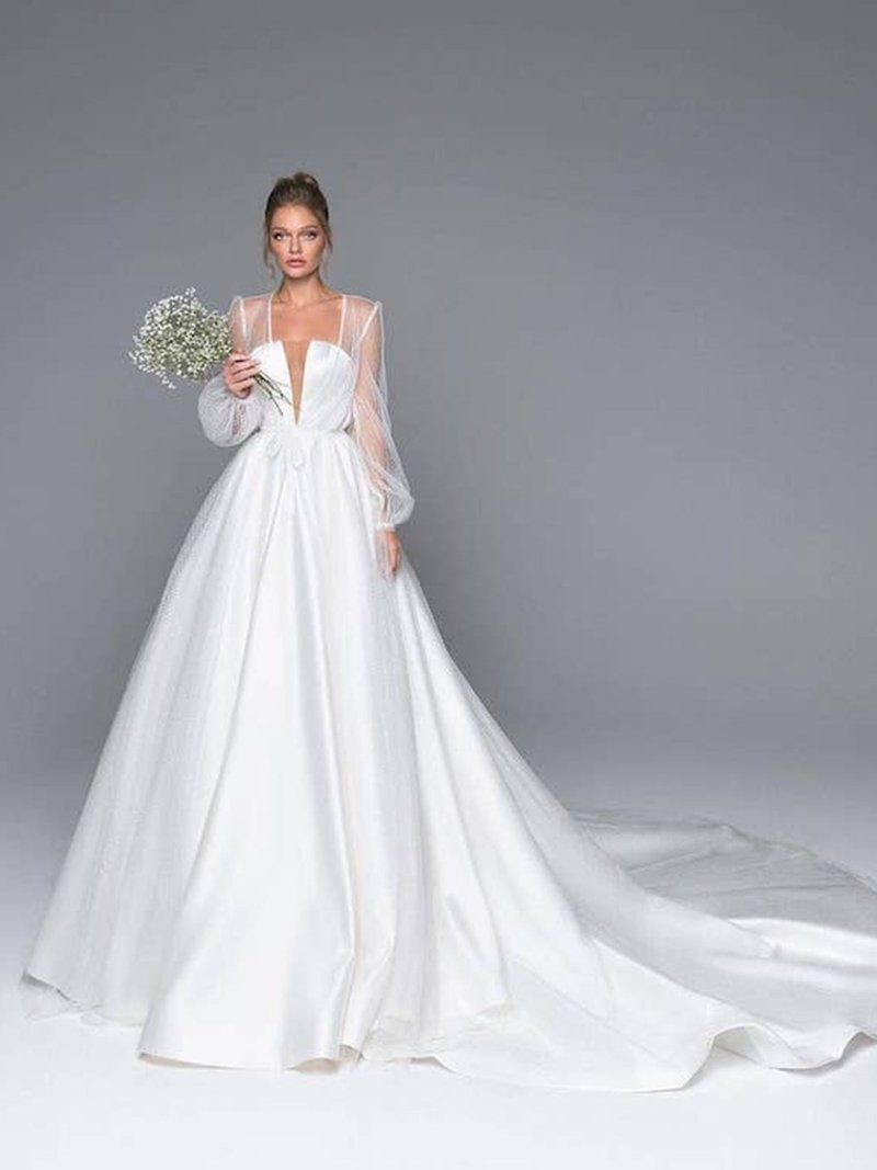 Long Sleeves Ball Gown Court Square Hall Wedding Dress