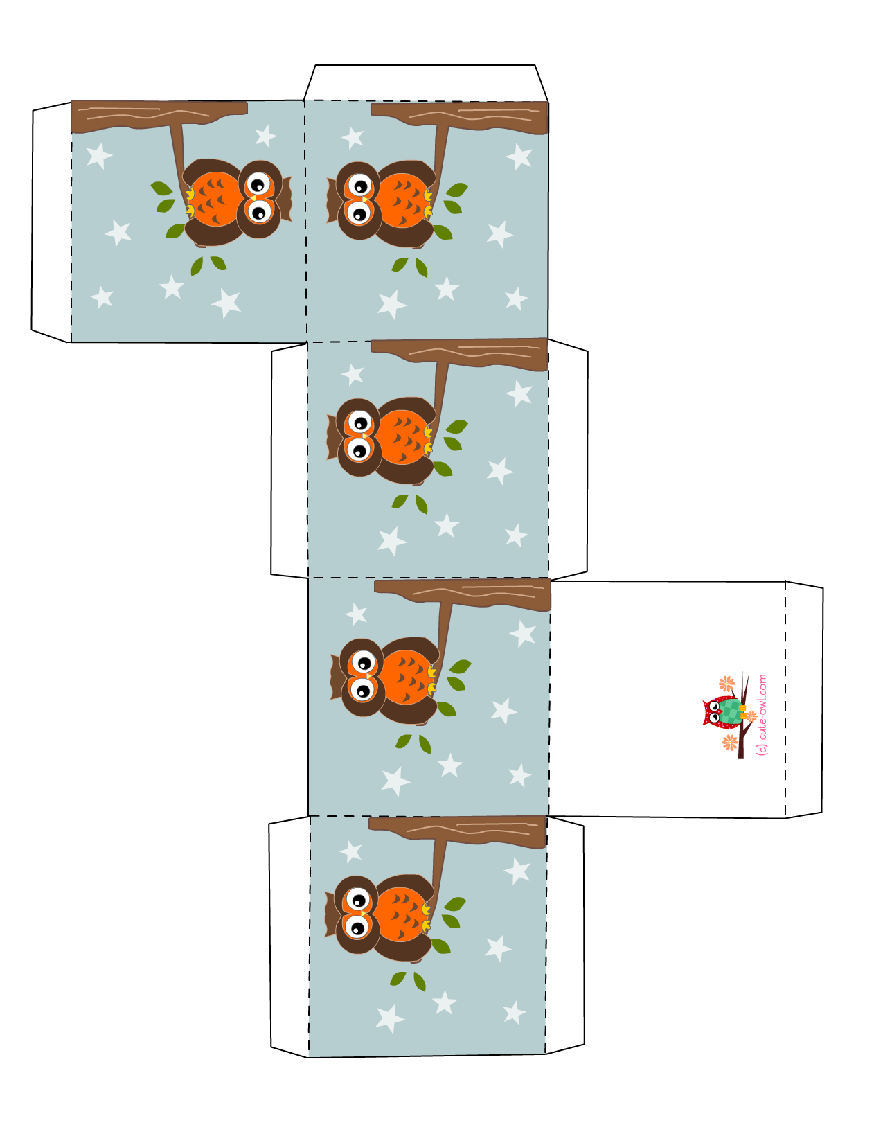 Free Printable Owl Party Favor Boxes - 3d House Drawing •