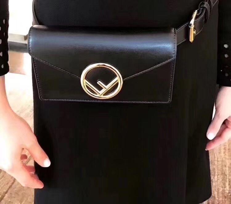 ab573effcb Fendi belt bag leather waist chest bag with chain shoulder black ...