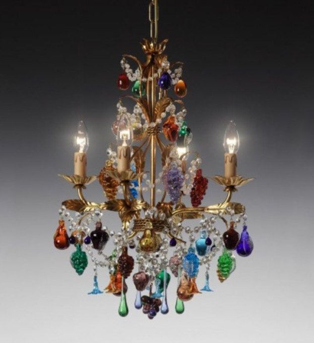 Chandelier With 4 Lights In Murano Blown Glass With Flowers And Fruits Di Muranospareparts Su Etsy Lampadario In Vetro Lampadari Vetro Di Murano