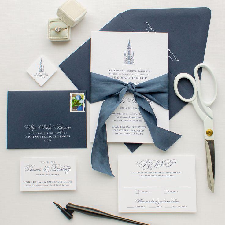 Letterpress Wedding Invitations with Custom Venue