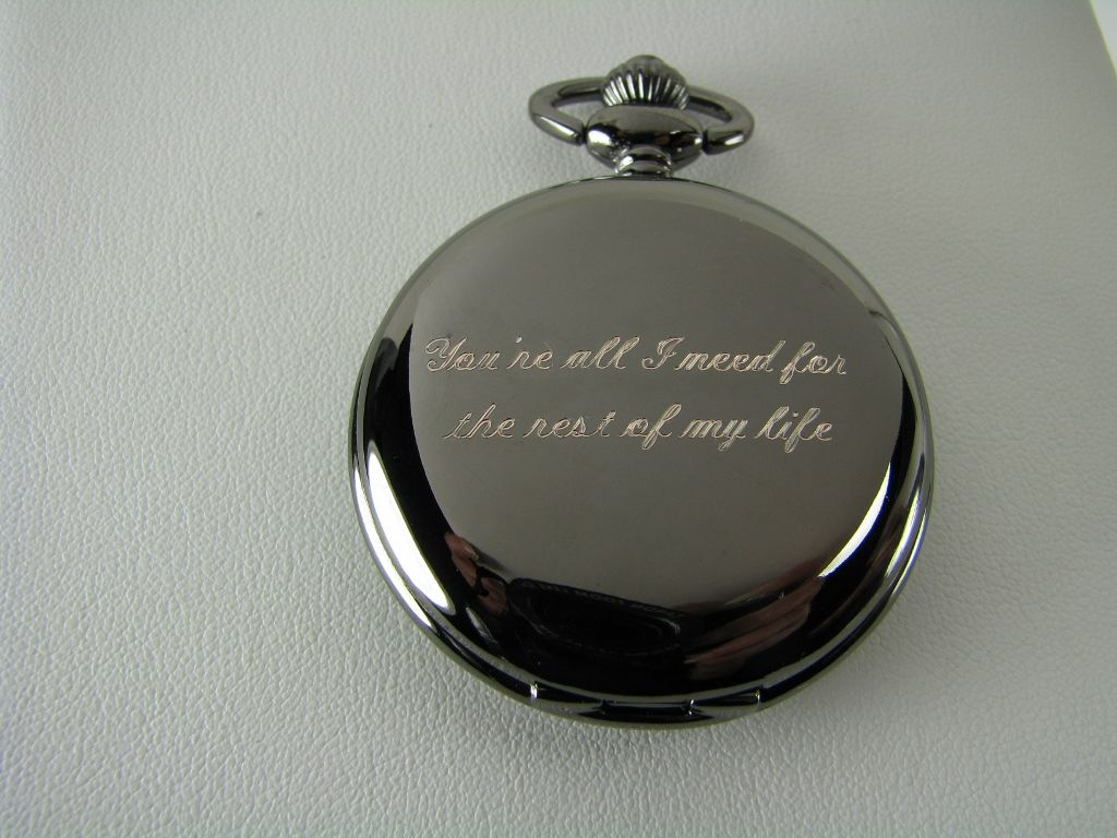 engraved pocket watch from the bride to the groom on their