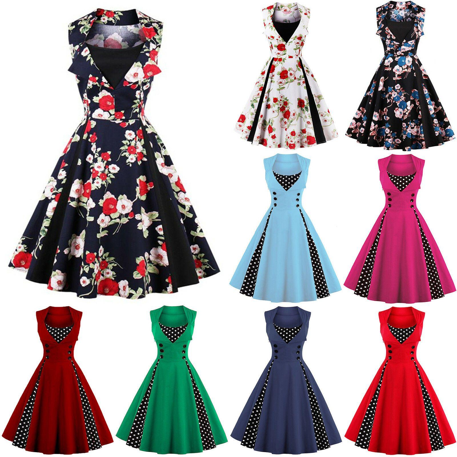 Damen Vintage Kurz Kleid Partykleid Rockabilly Cocktailkleid