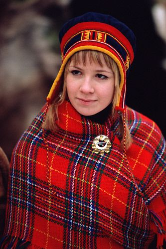 Portrait Of Pretty Saami Girl In A Traditional Hat And -8293