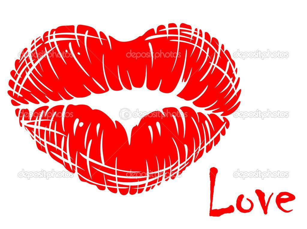 bbd28b541a labios rojos en forma de corazón - Ilustración de stock: 22123663 ...