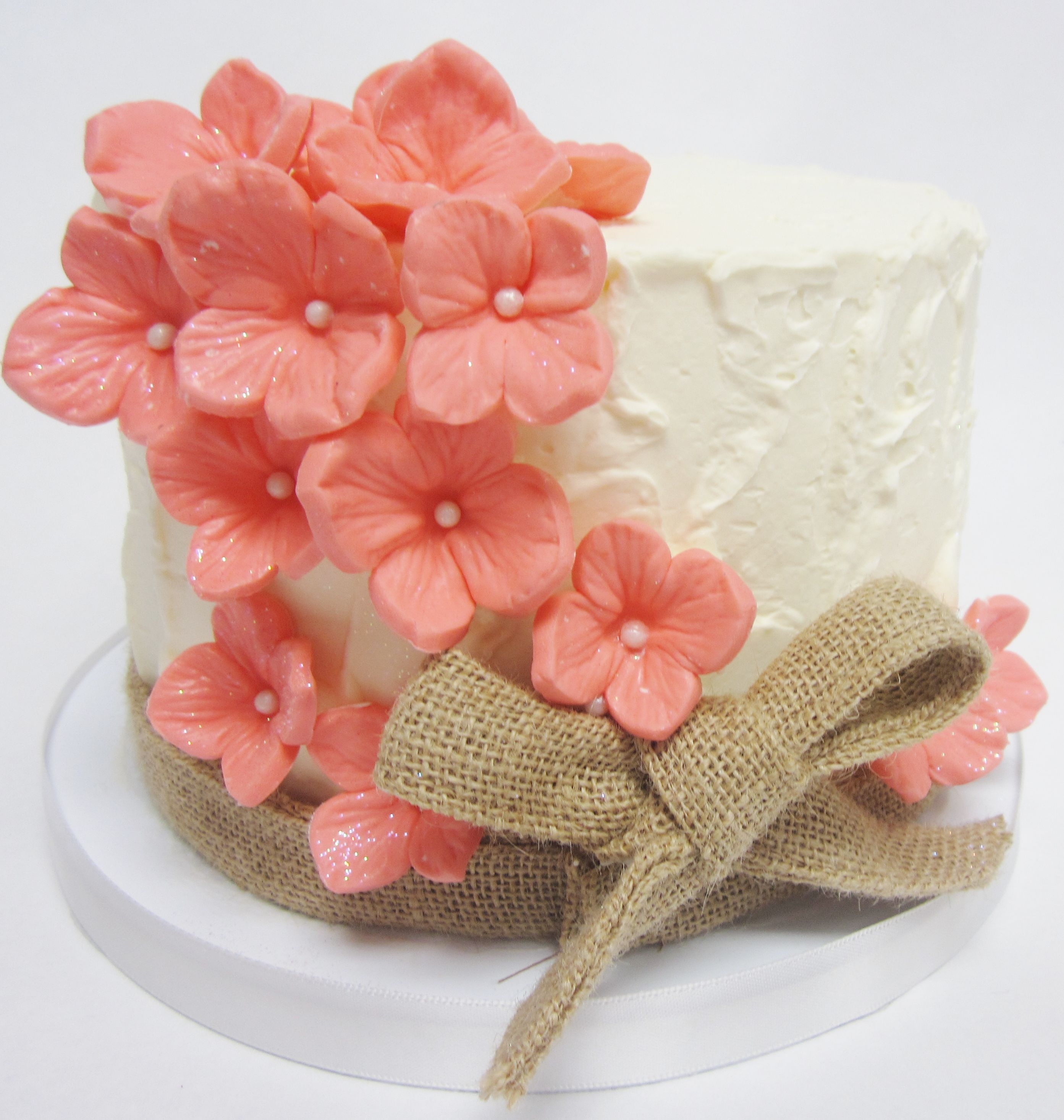 Rustic fondant flower wedding cake from Flavor Cakes made