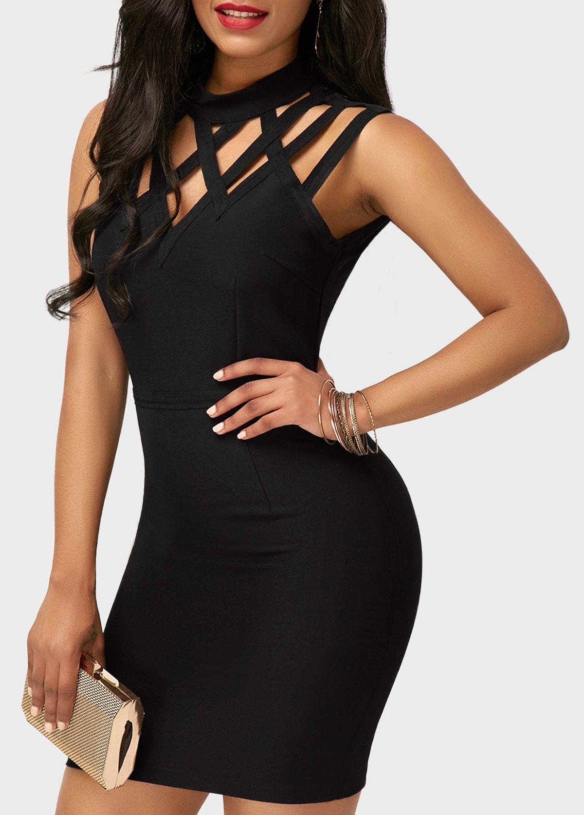 Cutout High Neck Sleeveless Black Sheath Dress  17a835c88