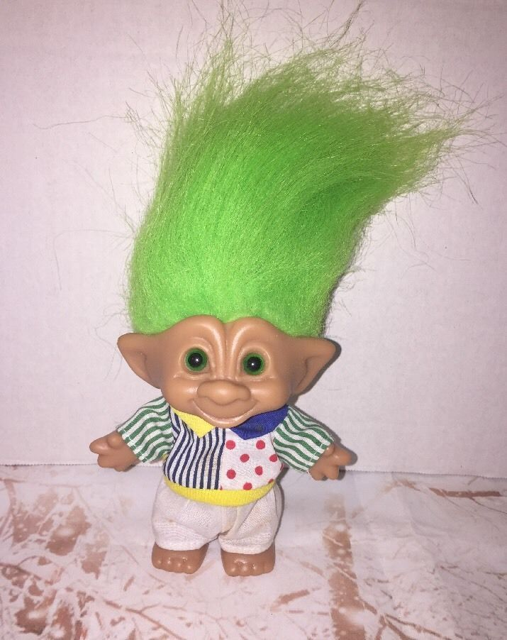 Russ Treasure Troll Vintage 90s Neon Lime Green Hair Ace Novelty
