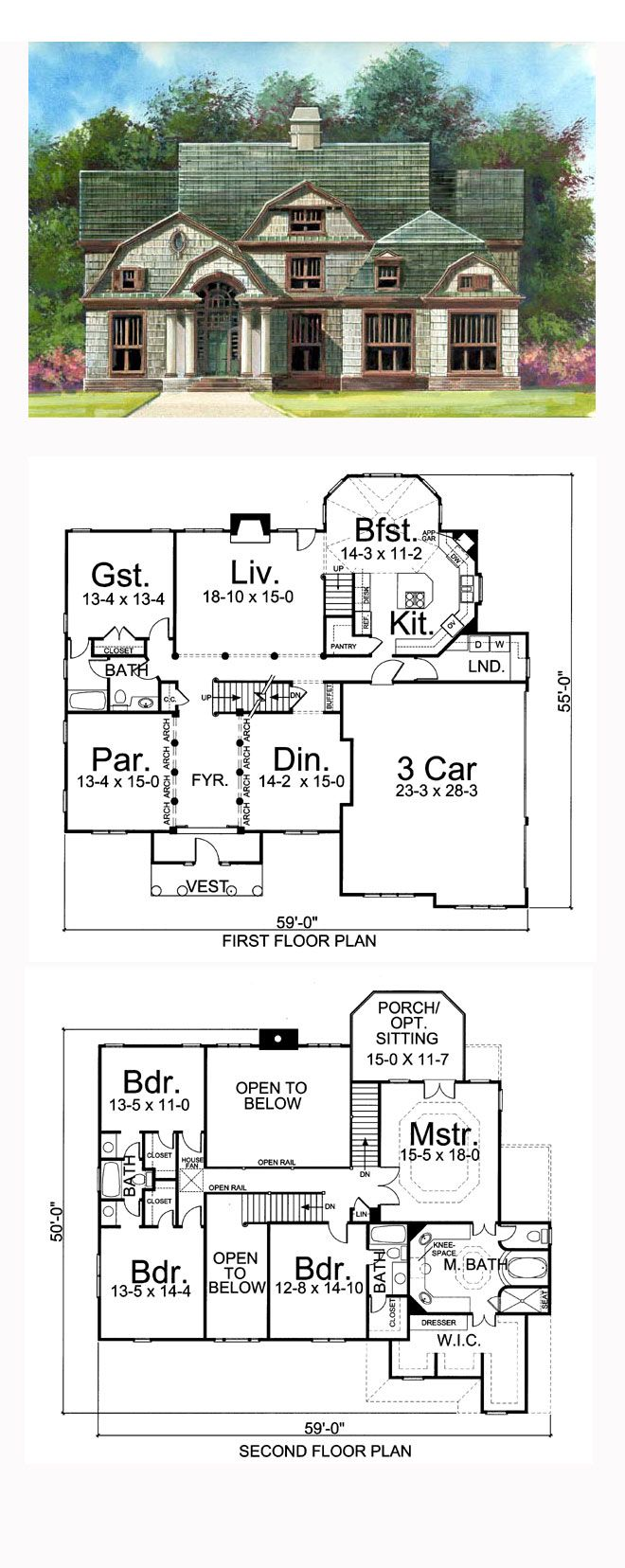 Greek Revival Style House Plan with 5 Bed 4 Bath 3 Car Garage