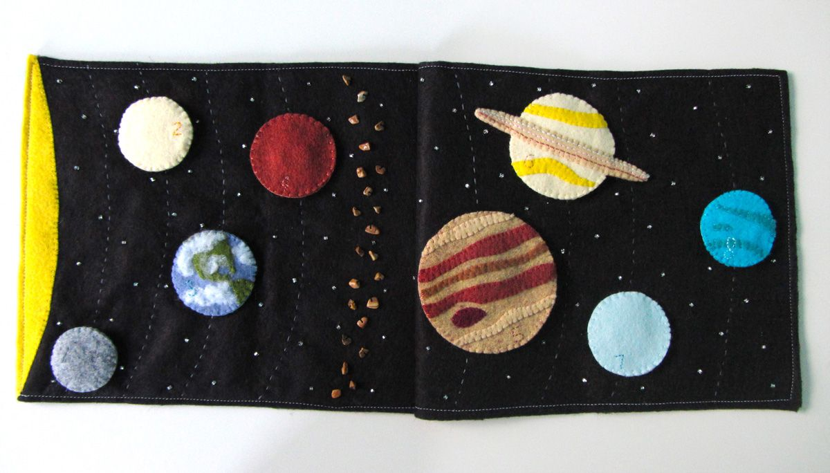 Books on felt crafts - Solar System Quiet Book Page