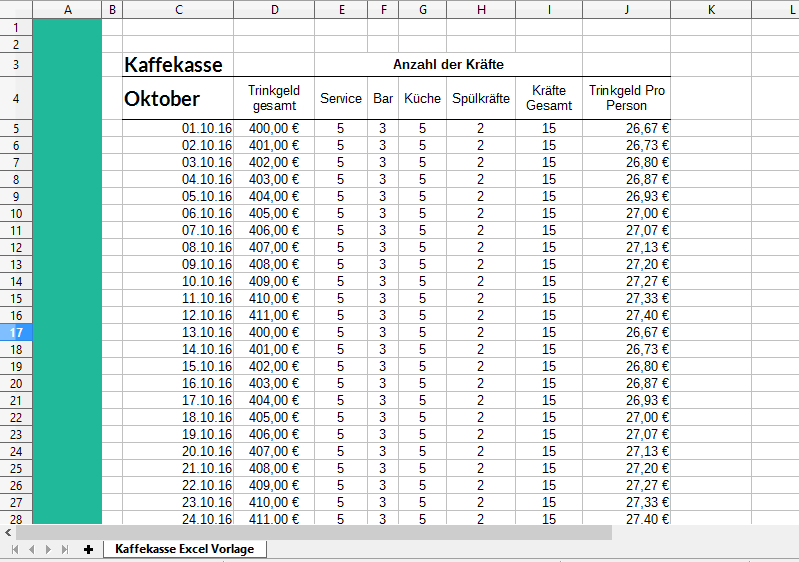 Kaffeekasse Excel Vorlage: kostenloser Download | Excel-Vorlagen ...