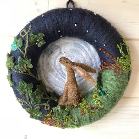 Photo of Moon gazing hare Wreath, Felted wreath, spiritual decor