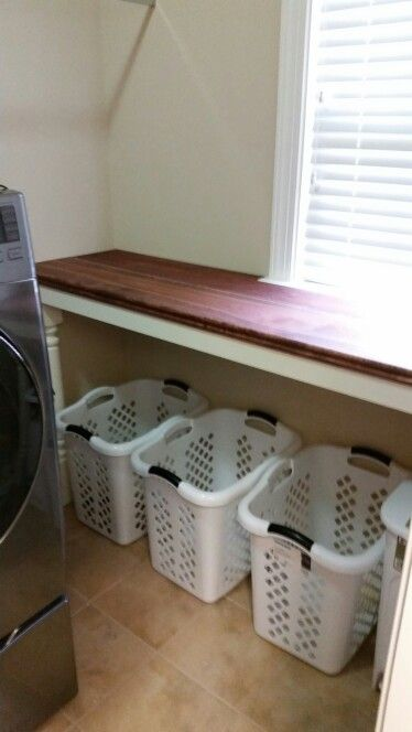 Hubby Just Made Me This Great Laundry Folding Station Laundry Room Tables Laundry Room Diy Laundry Folding Tables