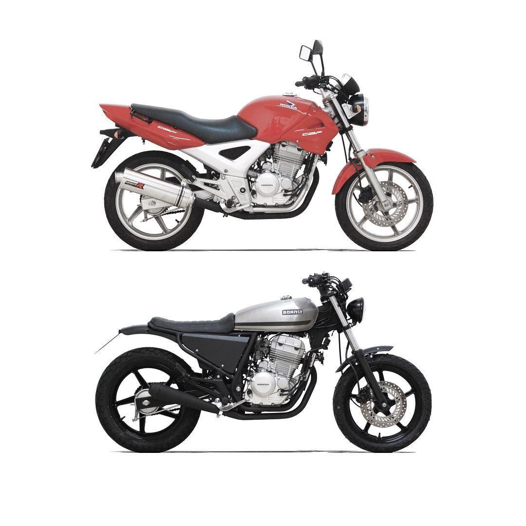 Before And After Honda Cbf 250 Motorcycle Honda Cbf250 Beforeandafter Custom Scrambler Tracker Hondacaferacers Bike Cbx 250 Honda Cb Cb 250 Twister
