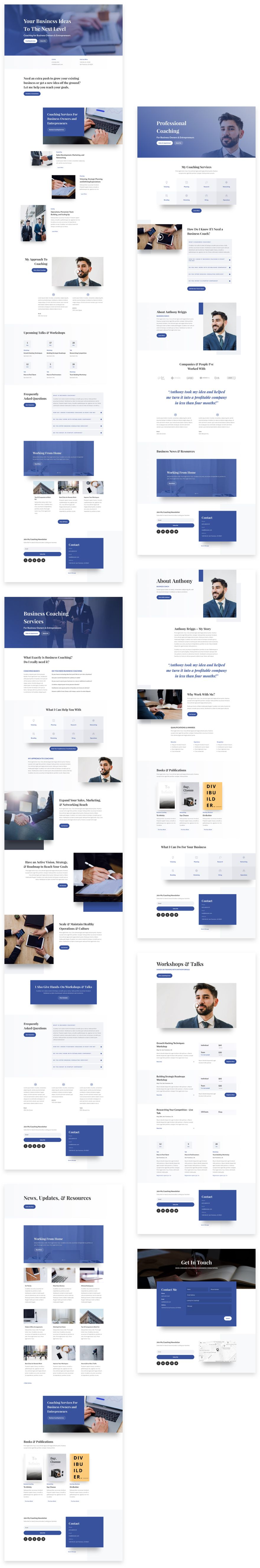 get a free business coach layout pack for divi webdesign layout
