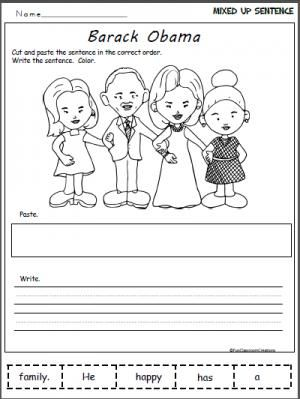 Barack Obama\'s Family Writing Worksheet. Cut and paste the mixed ...