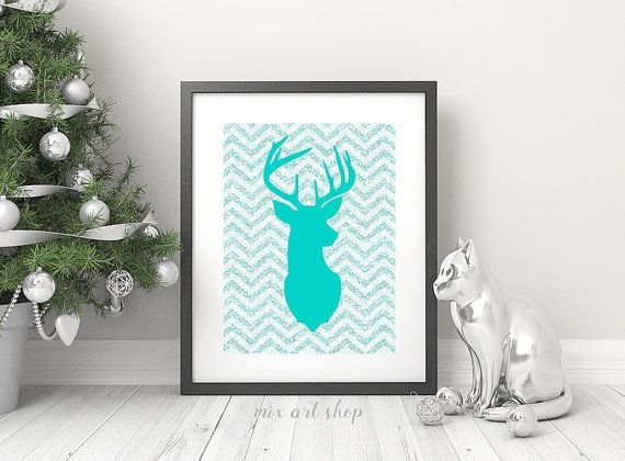 Hey, I found this really awesome Etsy listing at https://www.etsy.com/il-en/listing/260877705/deer-mint-silhouette-chevron-print-8x10