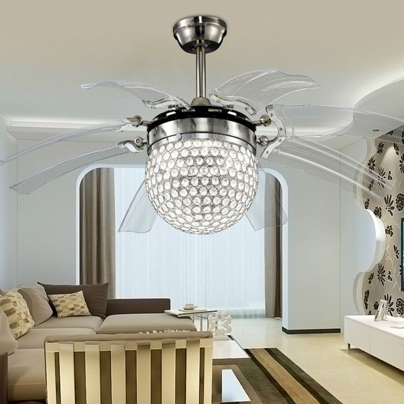 Modern Led Takeoff Ceiling Fans With Lights Dining Room Bedroom Home Crystal Fan Lamp Remote