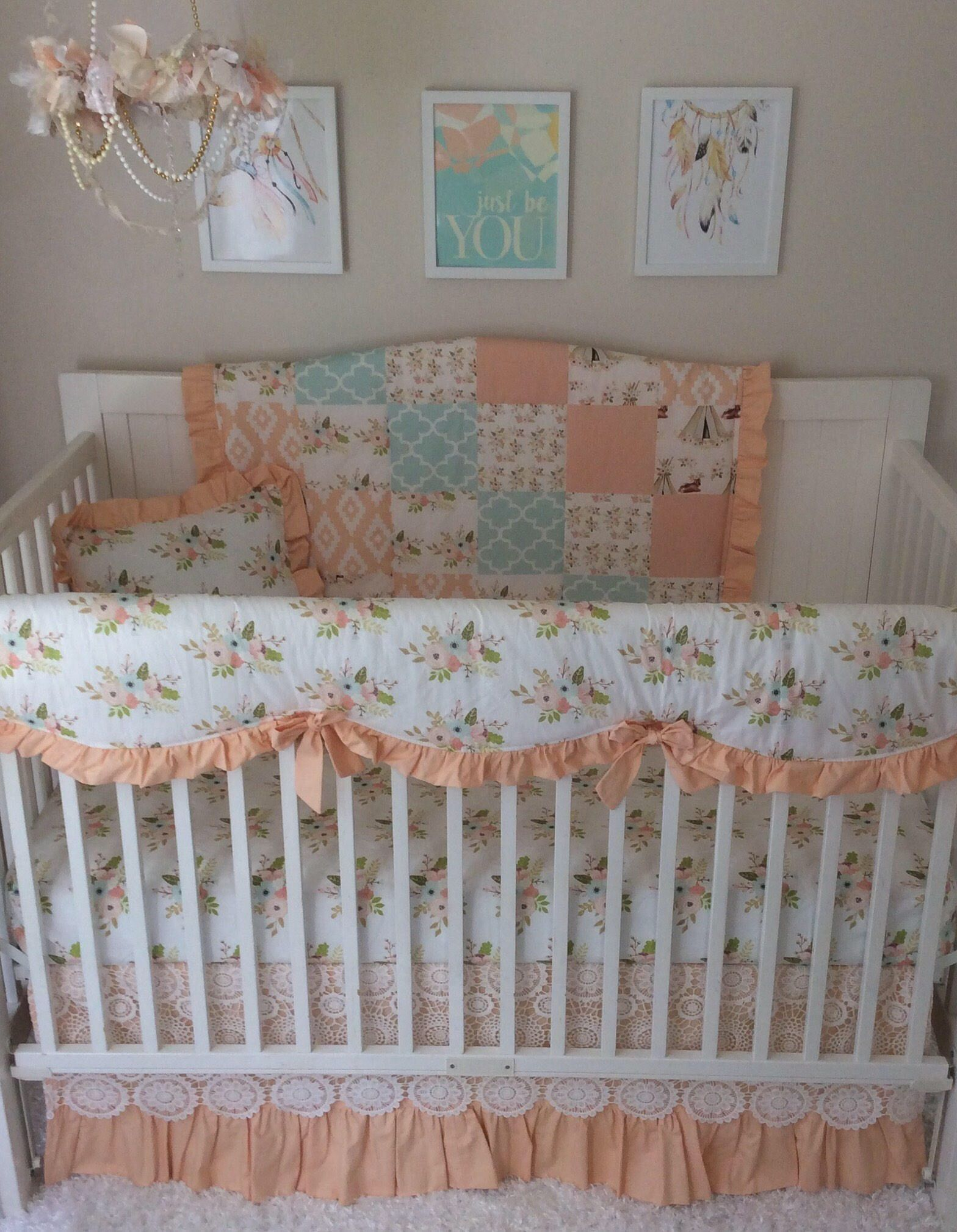 il peaches listing fitted peach cribs orange coral bedding and cream crib fullxfull zoom sheet