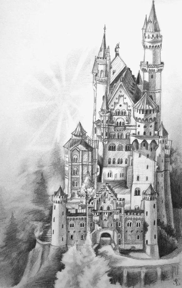 Нарисовать замок карандашом в картинках как странно