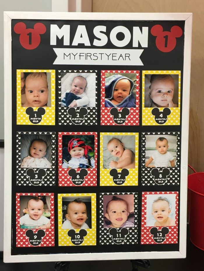 First Year Board For A Classic Mickey Mouse Birthday Celebration Styled By Lysi Of Thelysilife