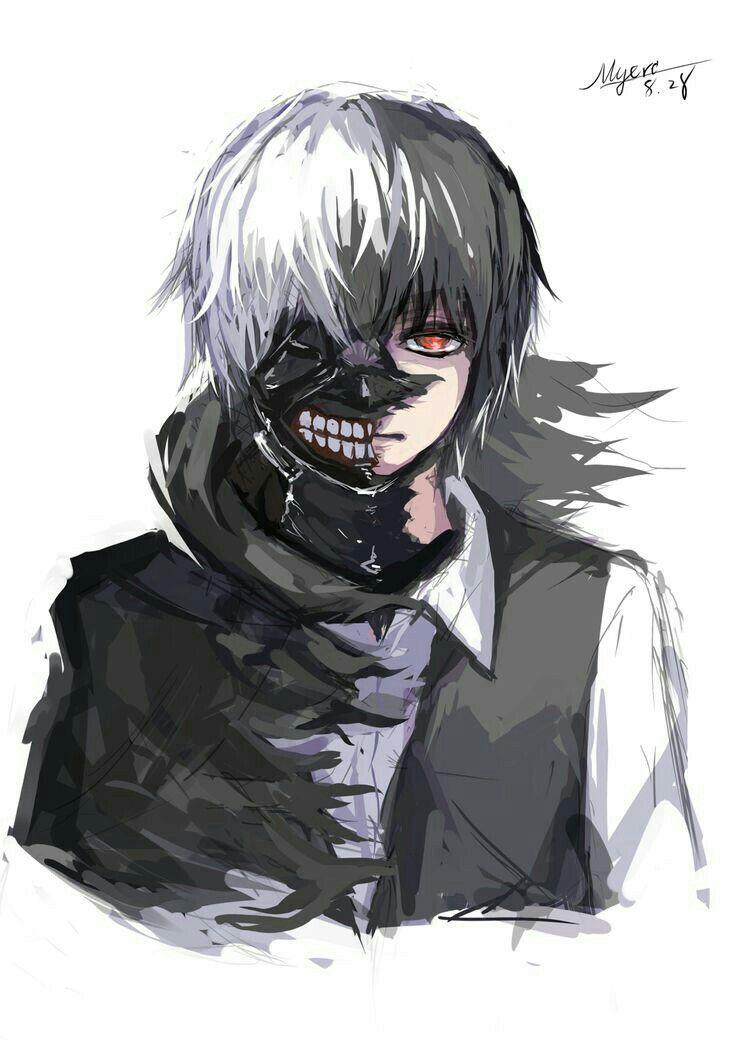 Kaneki Ken Ghoul White Hair Dark Hair Mask Cool Half