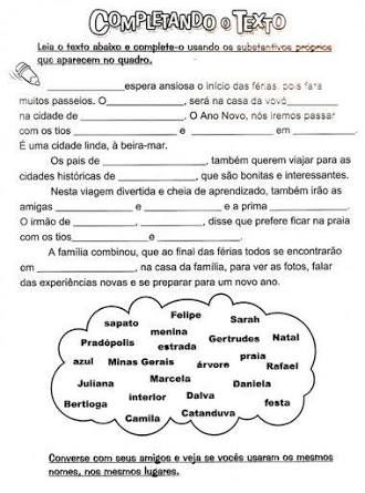 Resultado De Imagem Para Texto Substantivo Proprio E Comum