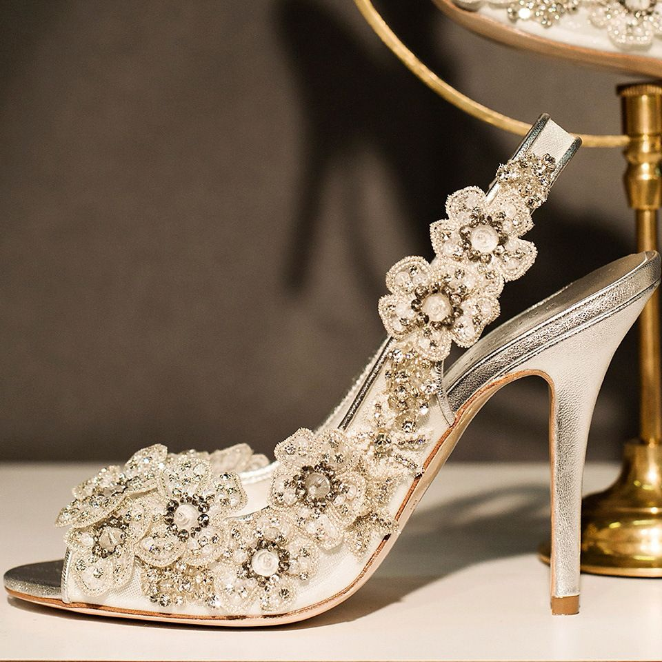 8b072190df8 Hand embroidered silk flower and swarkovski crystal shoes by Freya Rose