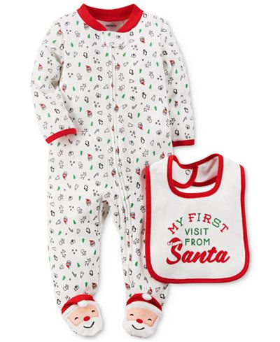 909de0136f7 Carter s 2-Pc. My First Visit From Santa Bib   Footed Coverall Set ...