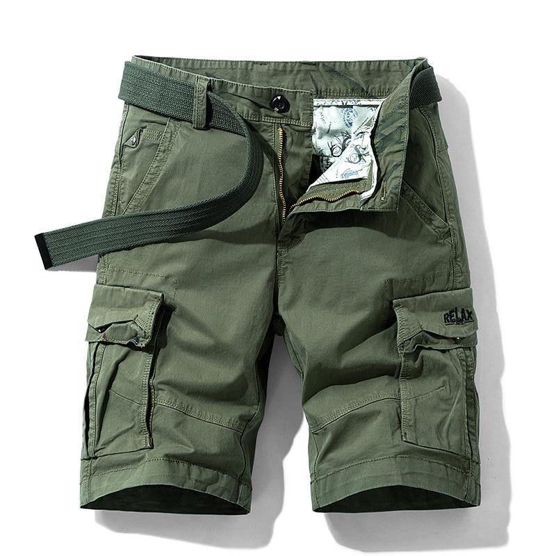 Men Summer Stretch Twill Cotton Cargo Shorts For Men - Army / 28