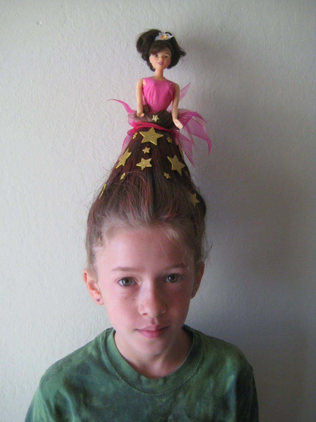ideas for crazy hair day. barbie with dress made out of hair
