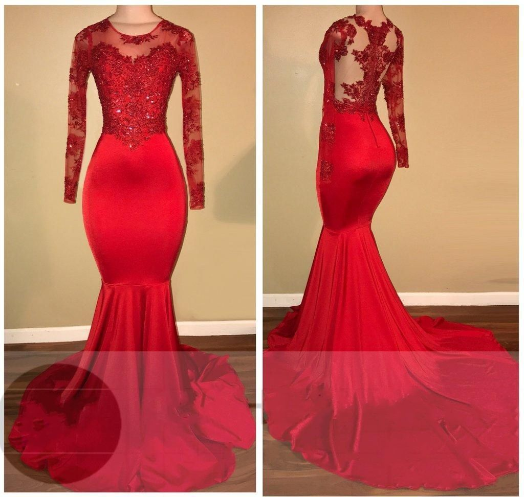 Gorgeous long illusion mermaid highneck longsleeves prom dresses