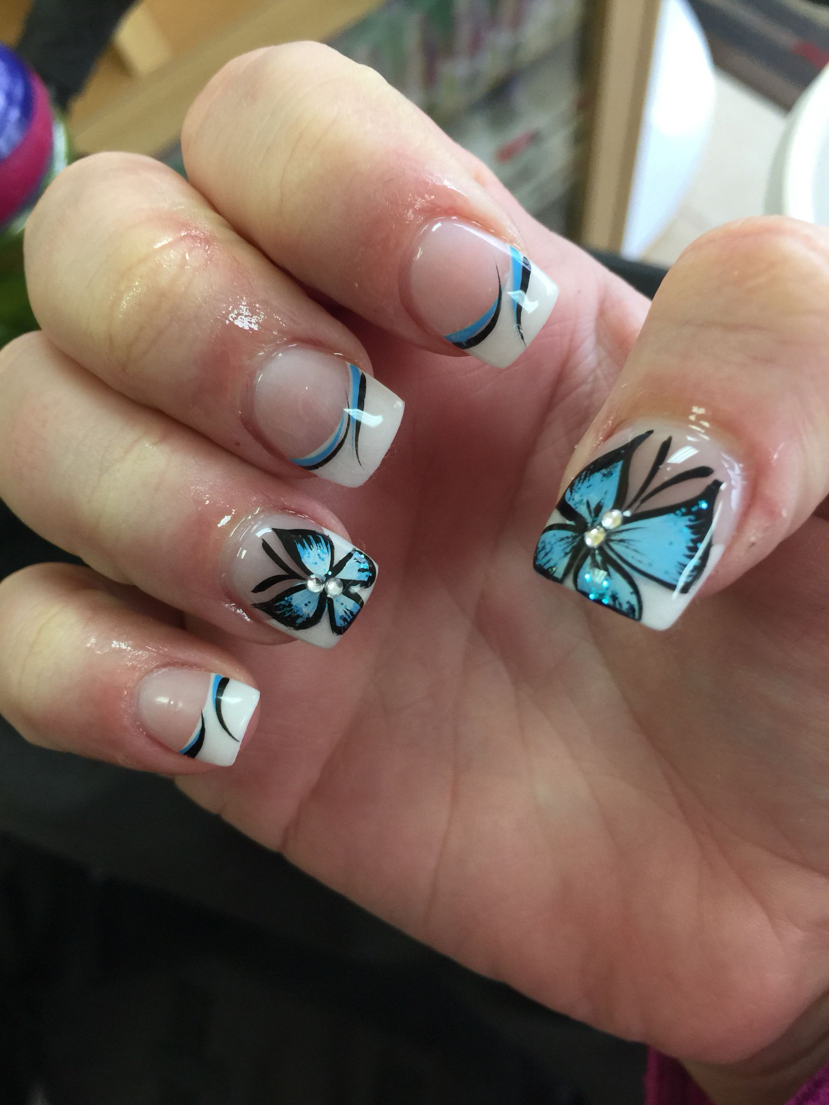 Blue Butterfly Nail Design Nails Pinterest Butterfly Nail