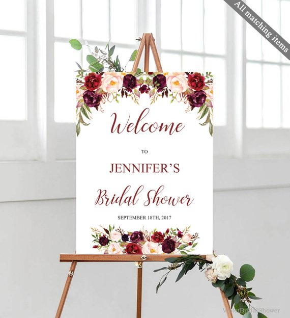 Marsala Welcome Poster Template Printable Bridal Shower Floral Wedding Burgundy Blu