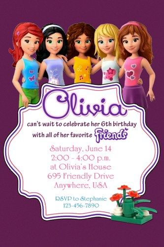 LEGO FRIENDS Birthday Party Invitation   Completely Customized   TwoTwelve    Digital Art On ArtFire
