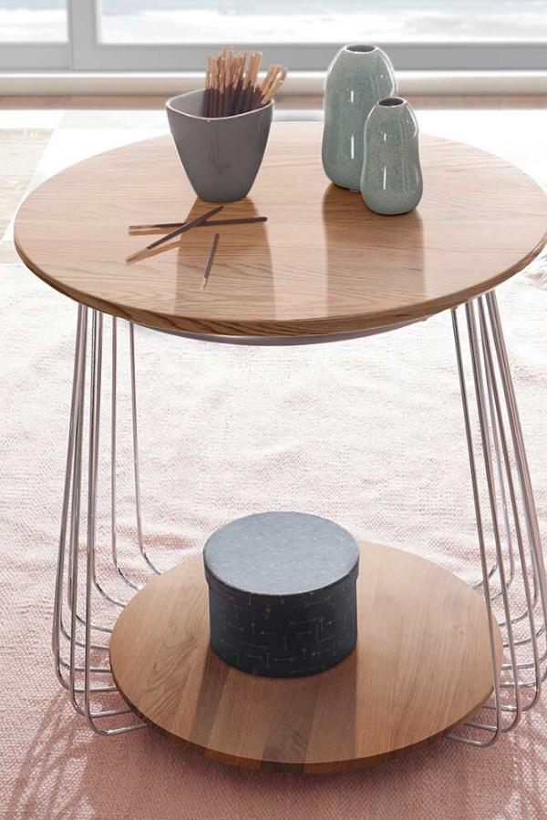 Design Couchtisch Polenta Aus Asteiche Massivholz Mit Draht Gestell In 2020 Couchtisch Couchtisch Rund Tisch