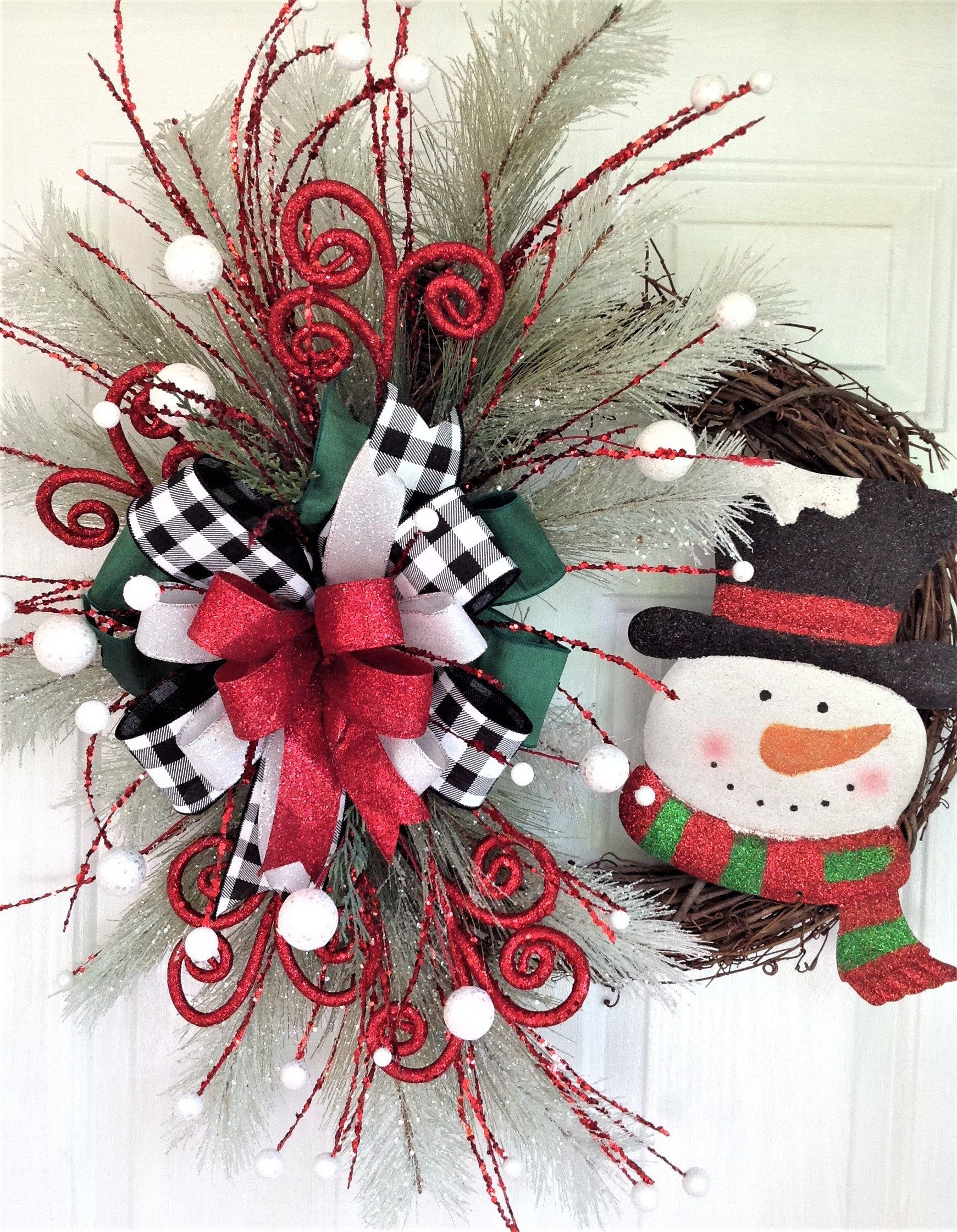 Christmas Snowman Wreath For Front Door, Christmas Grapevine Wreath, Holiday Wreath With Snowman, Snowman Door Decor, Christmas Door Hanger #halloweendoordecorations