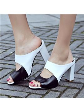 Hotness via Ericdress Graceful Contrast Color Chunky Mules Shoes