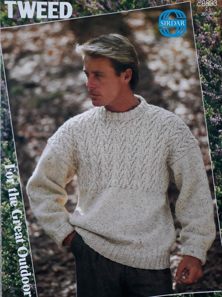 Knitting pattern Sirdar 8533 mens aran cable sweater ...
