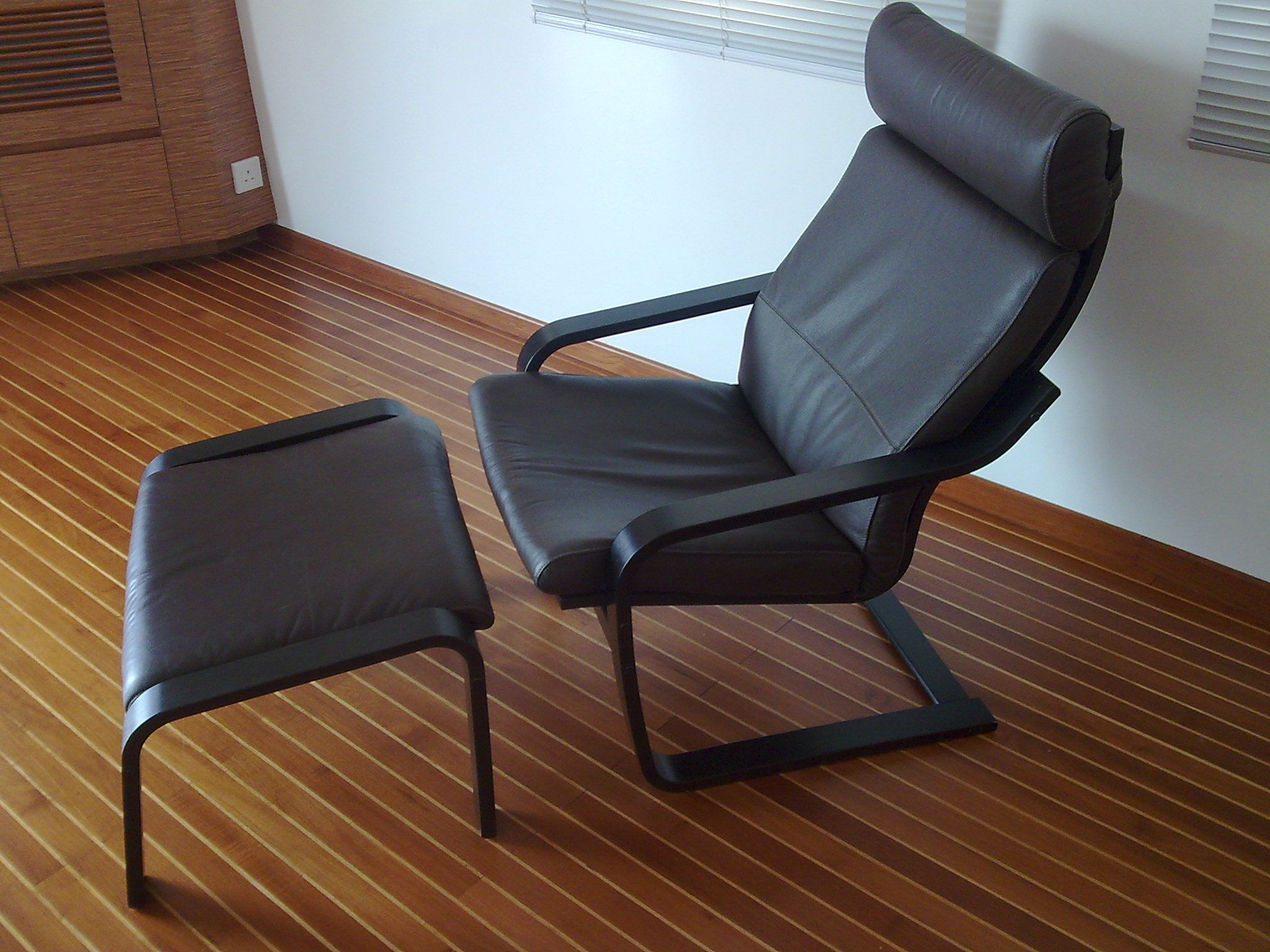 Ikea Poang with Ottoman black leather | Chairs | Pinterest ...