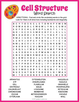 Cell Structure Word Search Puzzle | Cell structure, Word search ...