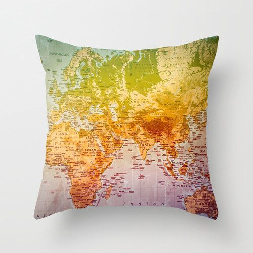 ⇚ Map Quest ⇛ maps & globes in history, art, craft & decor - Map Pillow by CalamariSky on Etsy