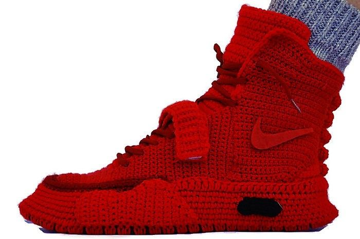 best service 8c36b 8caff Crochet Air Yeezy 2 Red October Knitted Slippers, Air Yeezy ...
