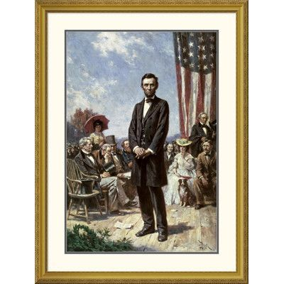 Global Gallery 'The Gettysburg Address' by Jean Leon Gerome Ferris Framed Painting Print Size: