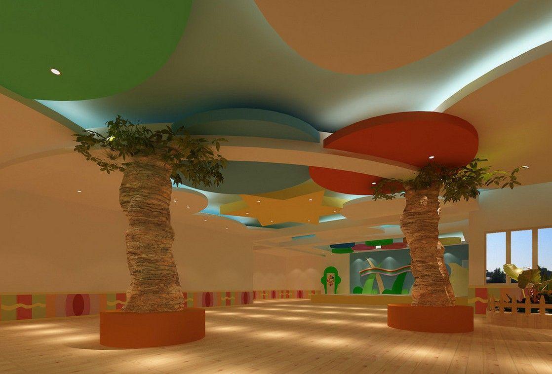 Kindergarten interior design image in 3d - Kindergartens Ceiling Design Ceilings