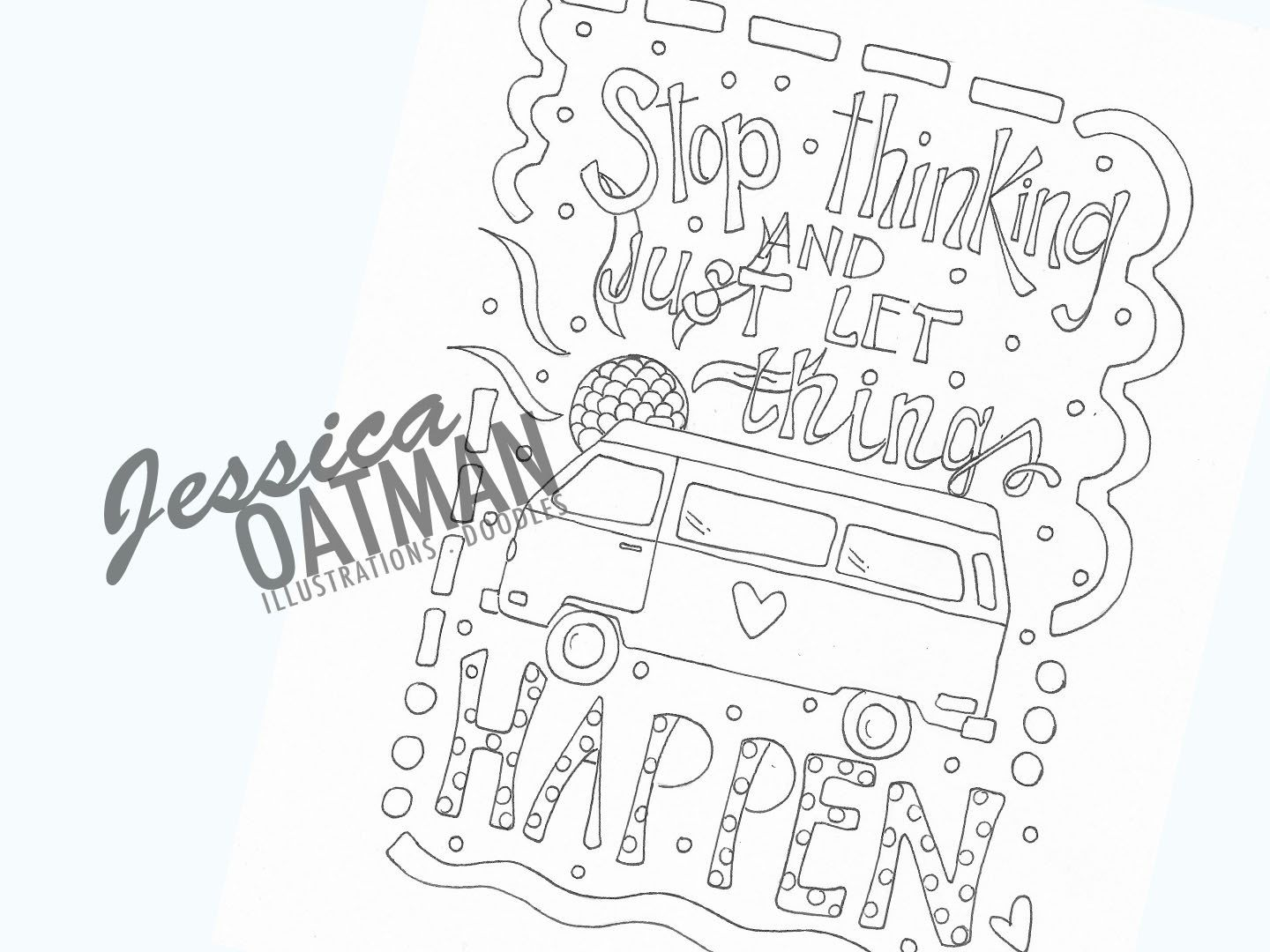 Camper Coloring Page, Coloring Pages, VW Van, Travel Quote