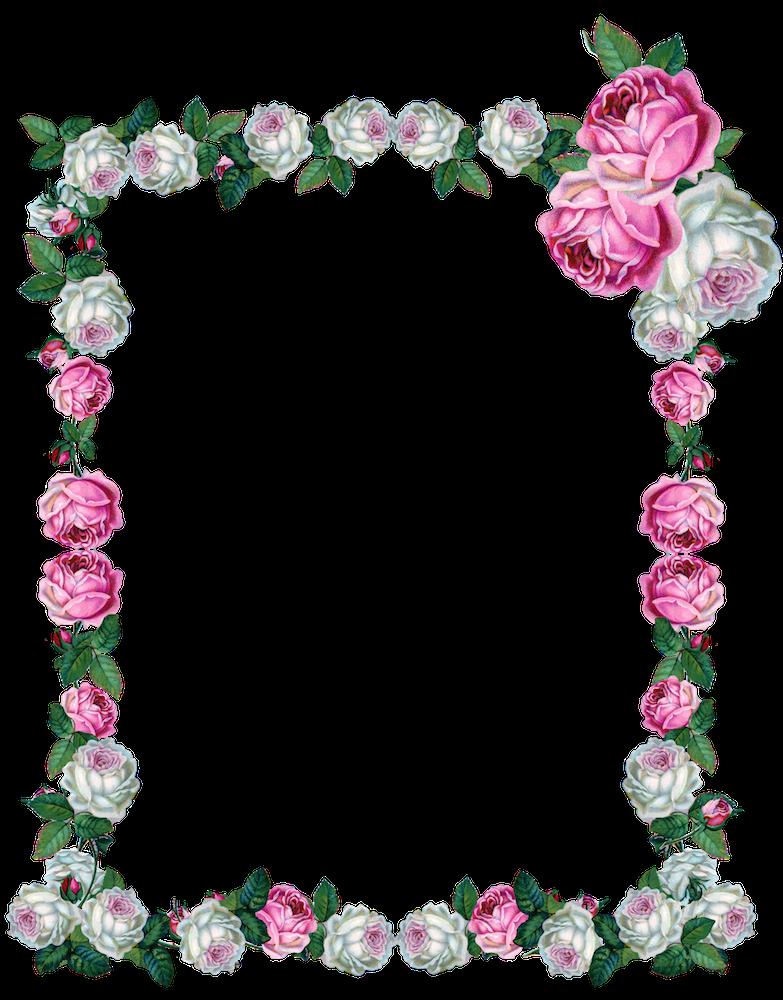 Free Digital Vintage Rose Frame Png Vintage Rosenrahmen Freebie Rose Frame Vintage Roses Floral Border Design